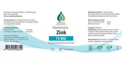 Etiket Solmag zink 15 mg