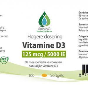 Etiket Solmag vitamine D3 5000 IE softgels